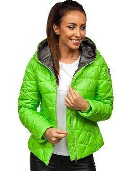 Zelená dámská pro?ívaná p?echodová bunda s kapucí Bolf A5701