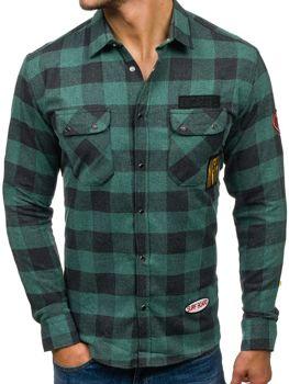 Zelená pánská flanelová košile s dlouhým rukávem Bolf 2503