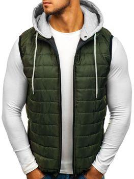 Zelená pánská vesta s kapucí Bolf AK90