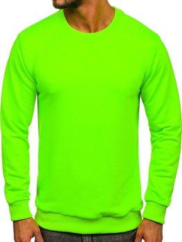 Zeleno-neonová pánská mikina bez kapuce Bolf 171715