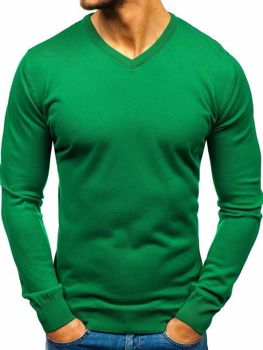 Zelený pánský svetr s výstřihem do V Bolf 2200