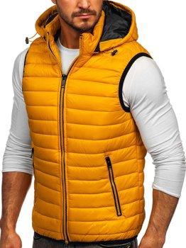 Žlutá pánská prošívaná vesta s kapucí Bolf 6701
