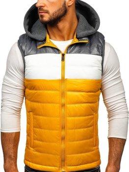 Žlutá pánská vesta s kapucí Bolf 6105