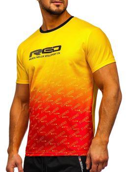 Žluté pánské sportovní tričko s potiskem Bolf KS2064