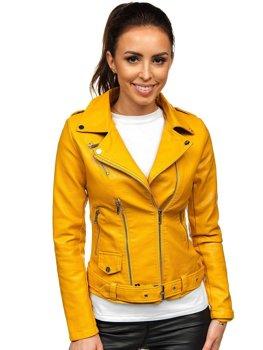 Žlutý dámský koženkový křivák bunda Bolf R16
