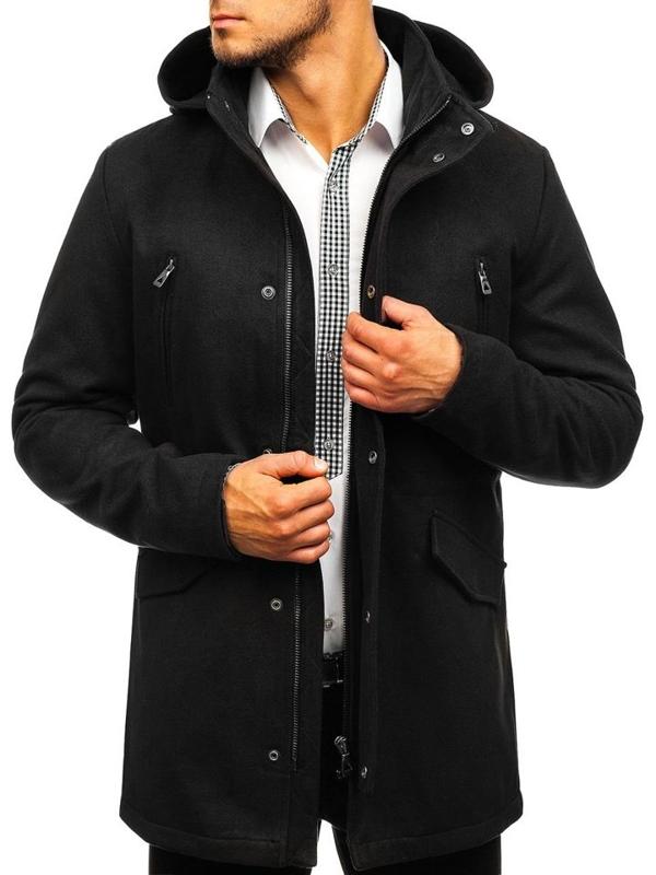 Černý pánský zimní kabát Bolf 5439