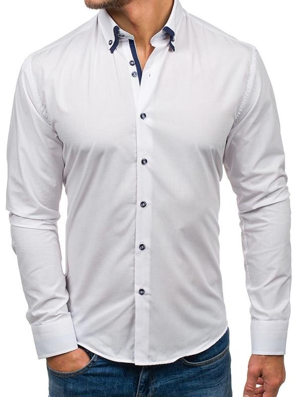Bílá pánská elegantní košile s dlouhým rukávem Bolf 6898-1