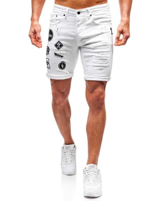 Bílé pánské džínové kraťasy Bolf 3029