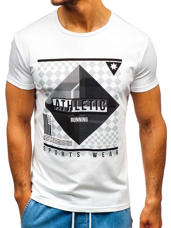 Bílé pánské tričko s potiskem Bolf KY30