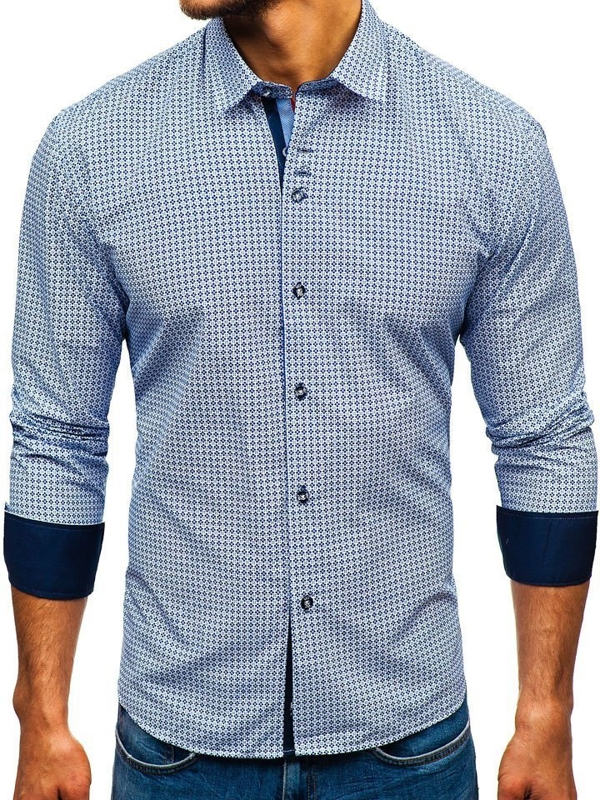 Bílo-tmavě modrá pánská vzorovaná košile s dlouhým rukávem Bolf 9702