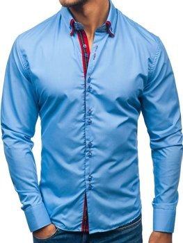 Blankytná pánská elegantní košile s dlouhým rukávem Bolf 2785