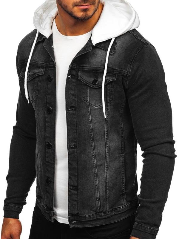Černá pánská džínová bunda s kapucí Bolf 605
