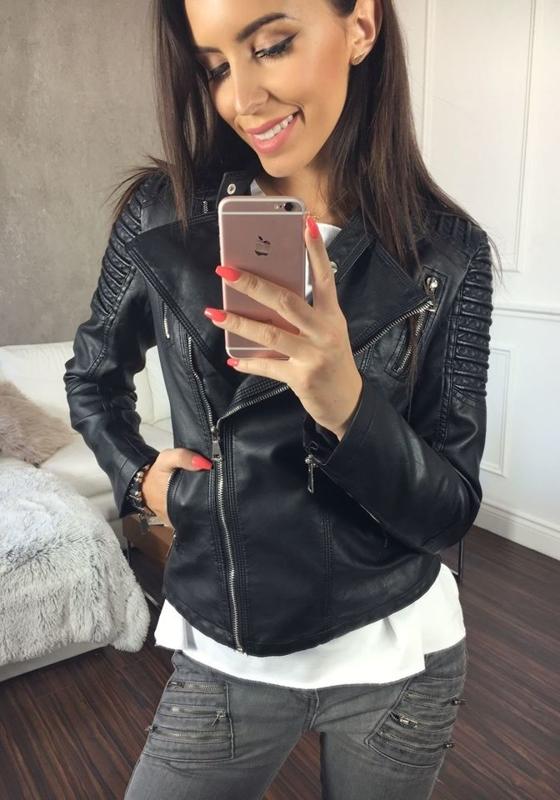 Černá pánská kožená bunda z ekokůže Bolf 8817
