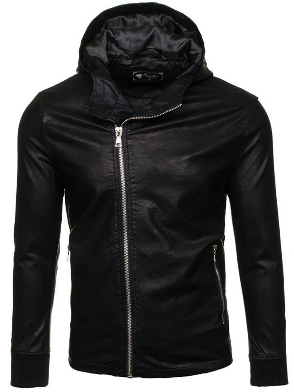 Černá pánská kožená bunda z ekokůže Bolf 9110