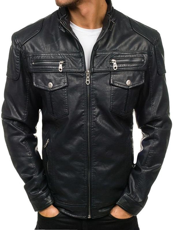 Černá pánská kožená bunda z ekokůže Bolf EX282