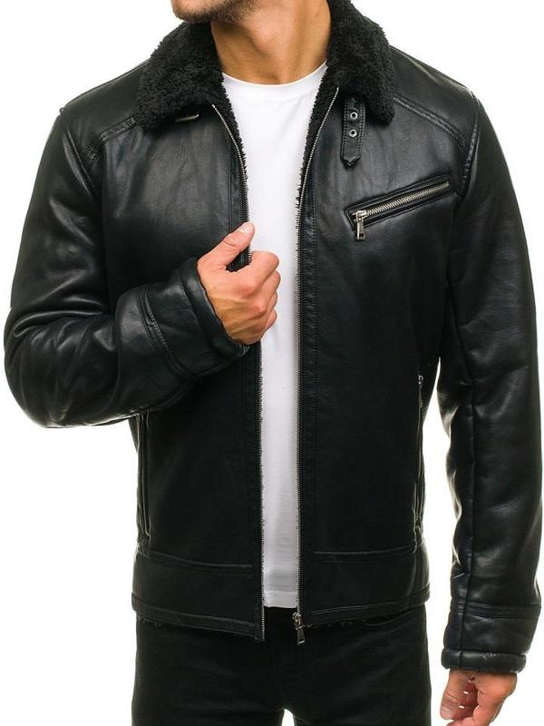 Černá pánská kožená letecká bunda z ekokůže Bolf 3139
