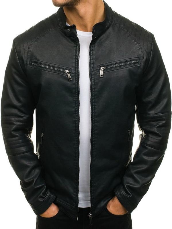 Černá pánská koženková bunda Bolf 1032
