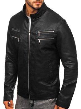 Černá pánská koženková bunda Bolf 1126