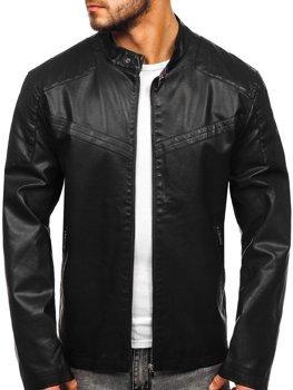 Černá pánská koženková bunda Bolf 1128