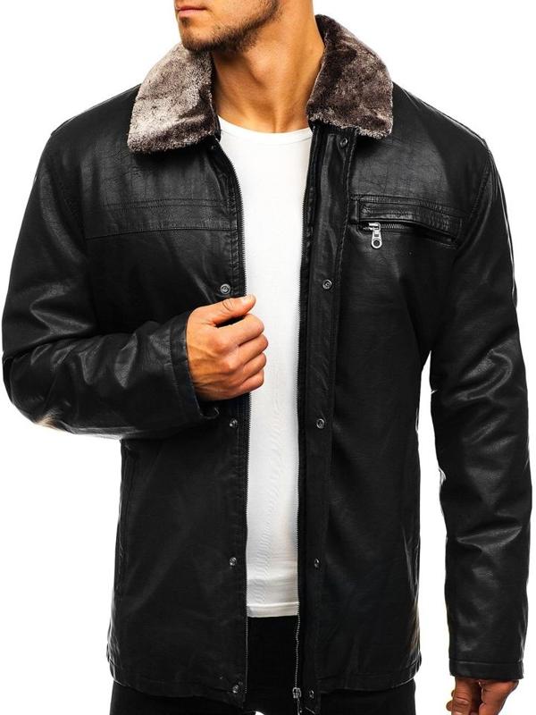 Černá pánská koženková bunda Bolf 293
