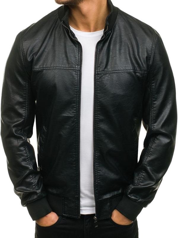 Černá pánská koženková bunda Bolf 8006