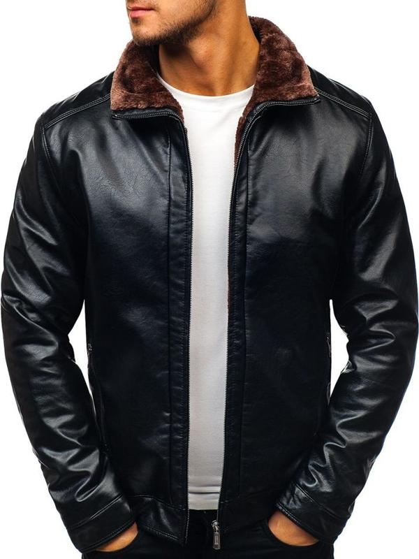 Černá pánská koženková bunda Bolf 82627
