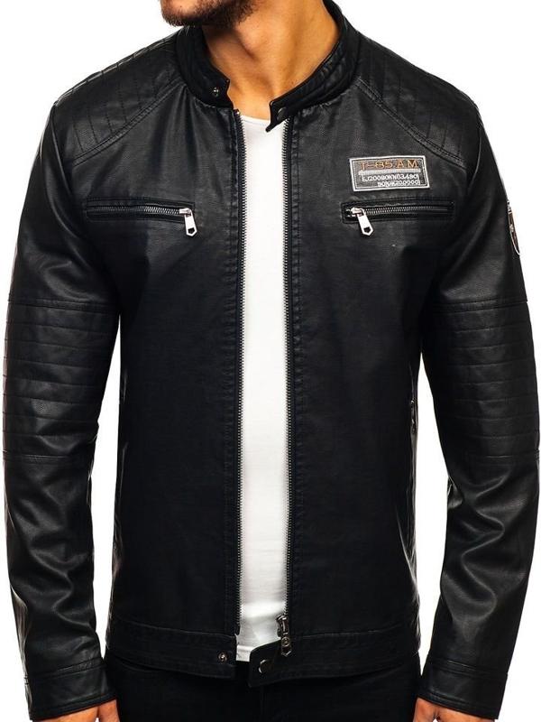 Černá pánská koženková bunda Bolf 92580