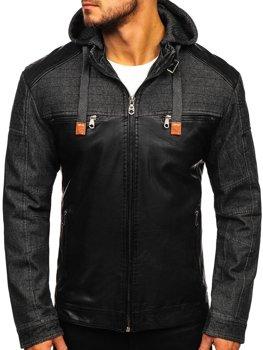 Černá pánská koženková bunda Bolf EX361