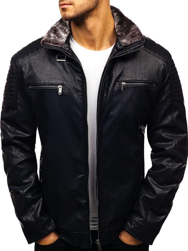 Černá pánská koženková bunda Bolf EX832