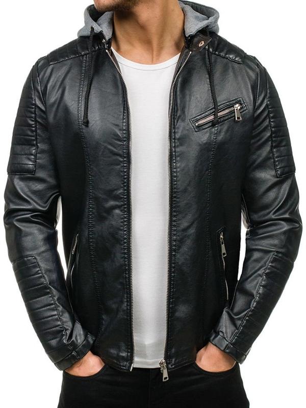 Černá pánská koženková bunda Bolf K321