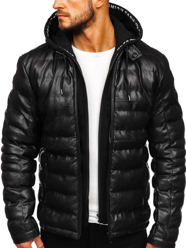 Černá pánská koženková bunda s kapucí Bolf 5831