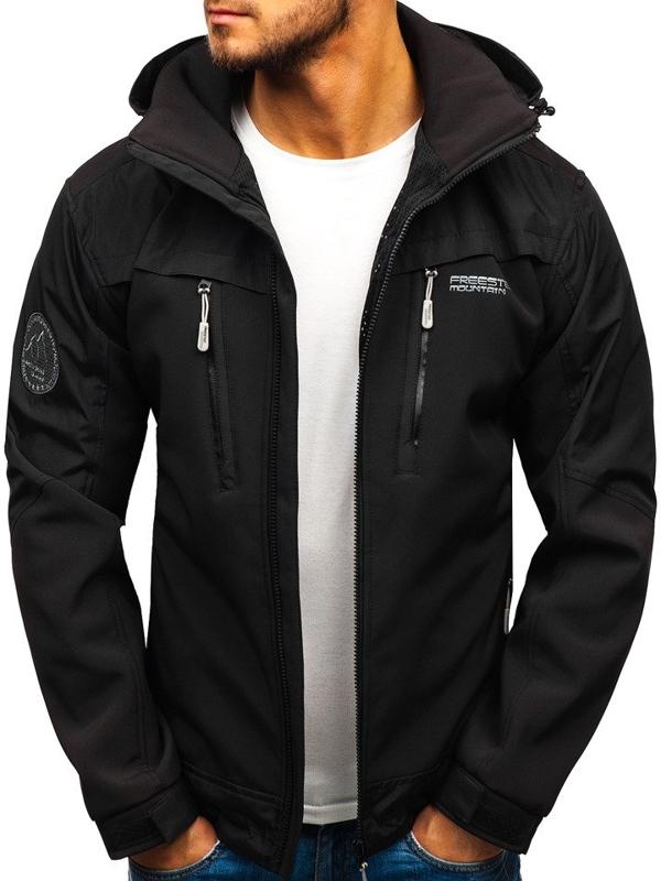 Černá pánská softshellová přechodová bunda Bolf P187