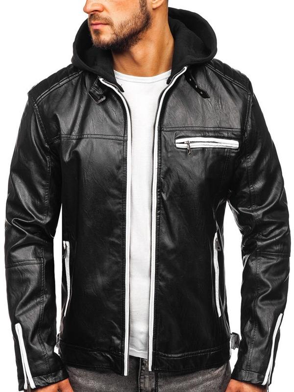 Černá pánská zateplená koženková bunda s kapucí Bolf 5588