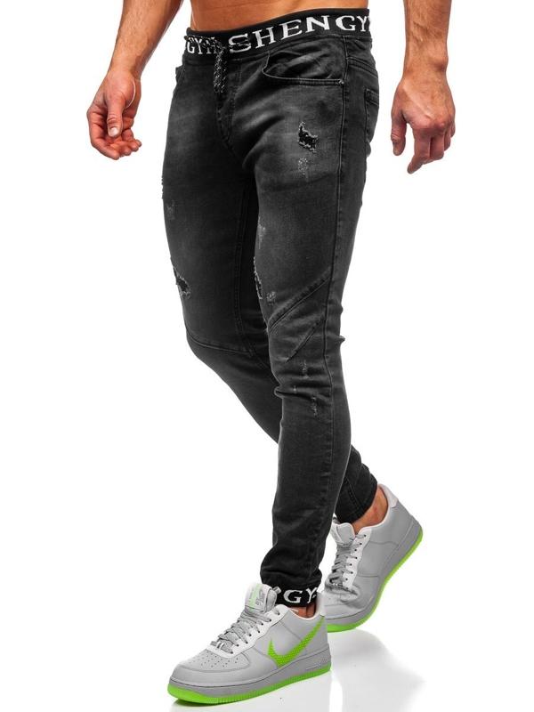 Černé pánské džínové jogger kahoty Bolf KA1857