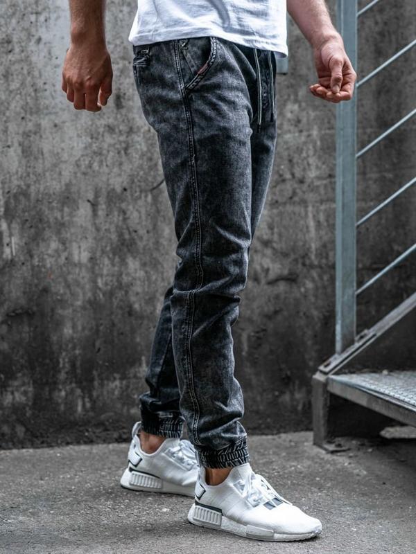 Černé pánské džínové jogger kalhoty Bolf KA1007