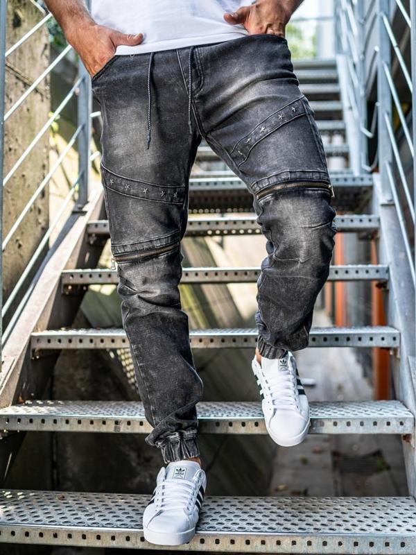 Černé pánské džínové jogger kalhoty Bolf KA509
