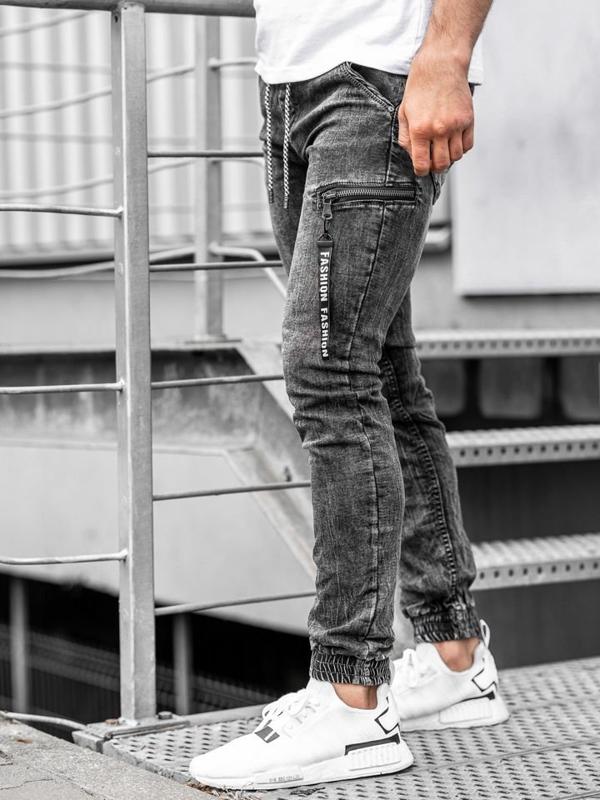 Černé pánské džínové jogger kalhoty Bolf KA689-2