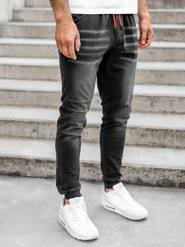 Černé pánské džínové jogger kalhoty Bolf KK1101