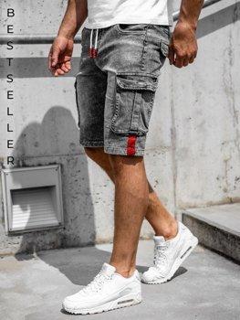 Černé pánské džínové kapsáčové kraťasy Bolf HY657