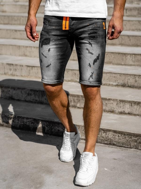 Černé pánské džínové kraťasy Bolf 3002