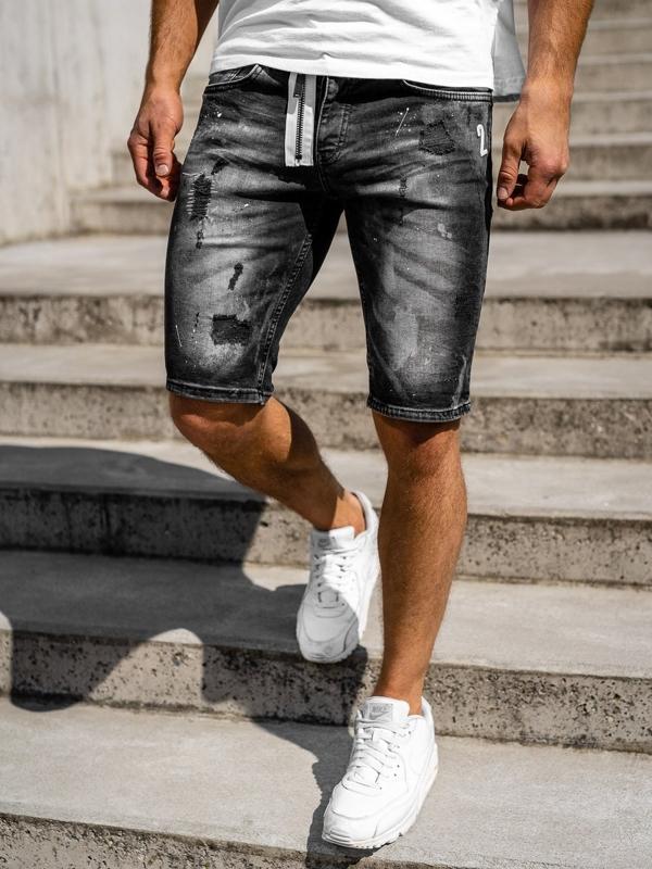 Černé pánské džínové kraťasy Bolf 3003