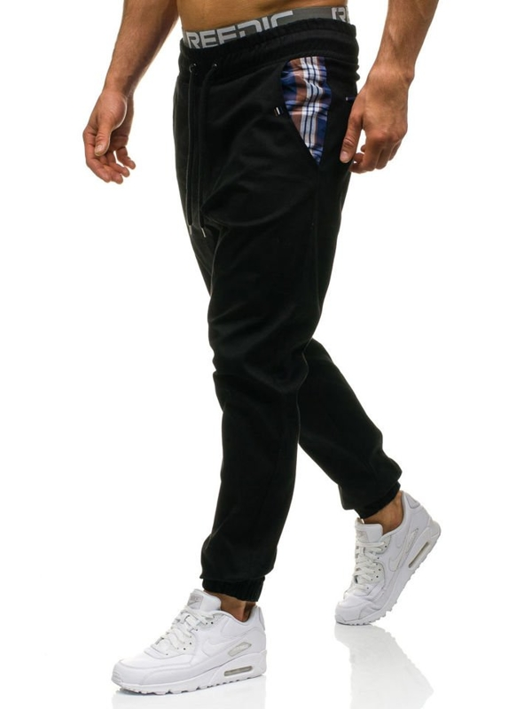 Černé pánské jogger kalhoty Bolf 0449-1