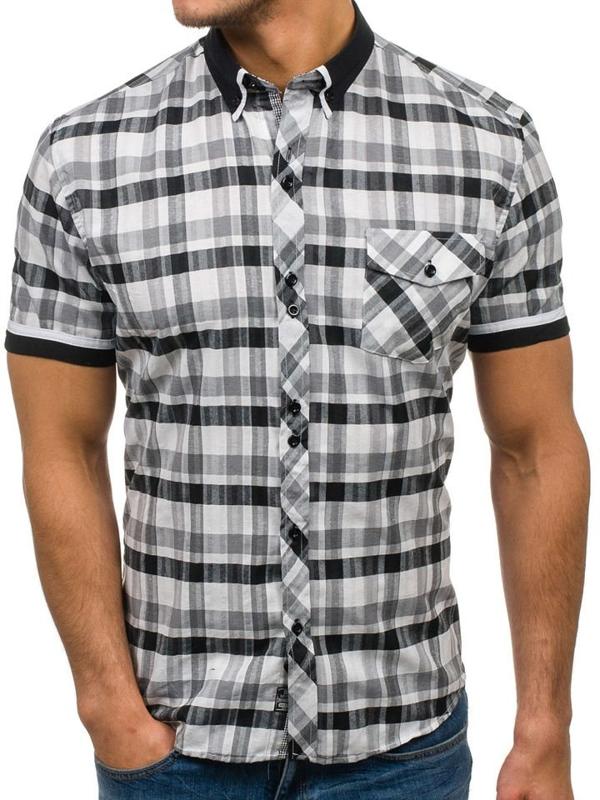 Černo-bílá pánská kostkovaná košile s krátkým rukávem Bolf 5202