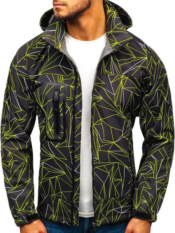 Černo-zelená pánská softshellová bunda Bolf T019T
