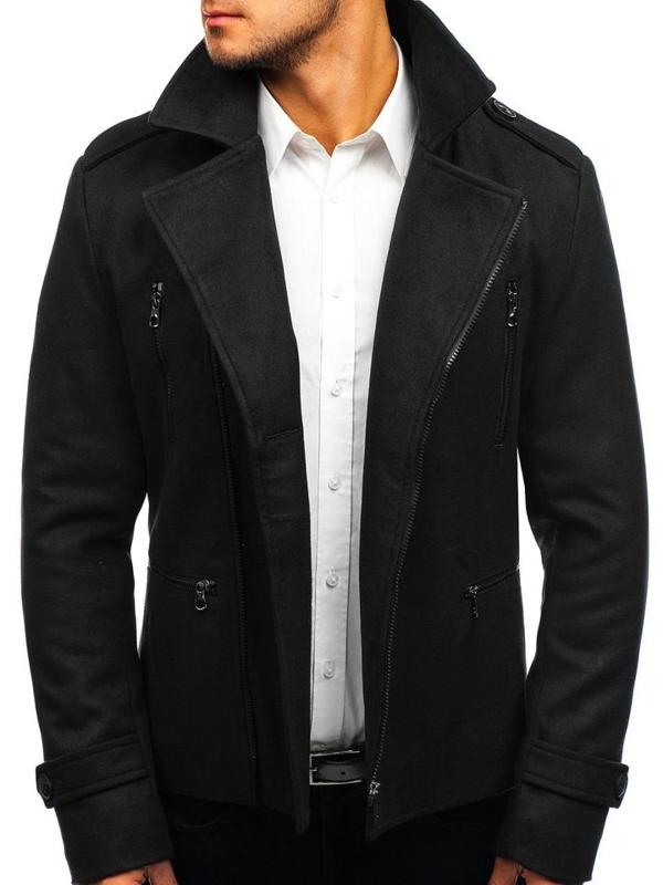Černý pánský zimní kabát Bolf 3133