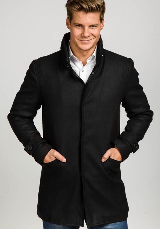 Černý pánský zimní kabát Bolf 3140