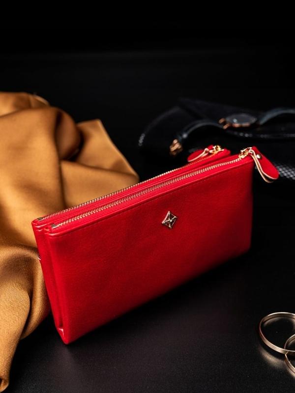 Dámská červená koženková peněženka 1826