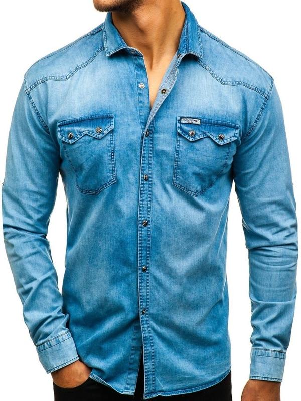 Modrá pánská džínová košile s dlouhým rukávem Bolf 2641