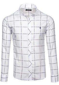 Pánská bílá kostkovaná košile s dlouhým rukávem Bolf 0280