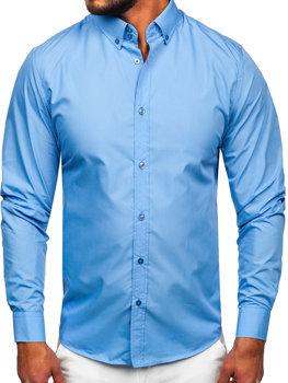 Pánská blankytná elegantní košile s dlouhým rukávem Bolf 5821-1